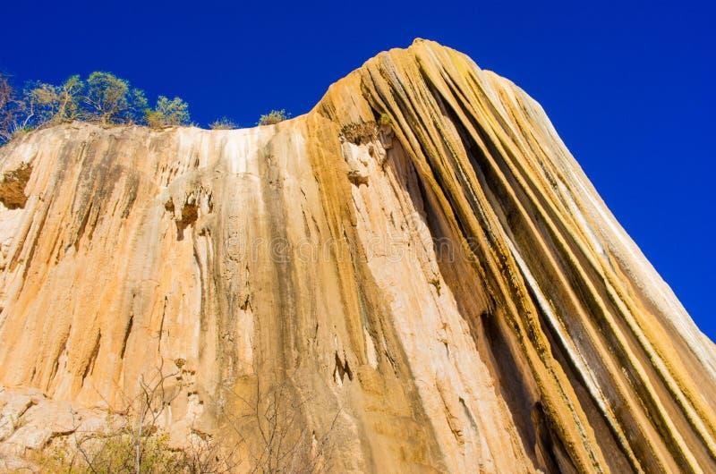 Van angst verstijfde watervallen, Hierve Gr Agua, Oaxaca, Mexico royalty-vrije stock fotografie