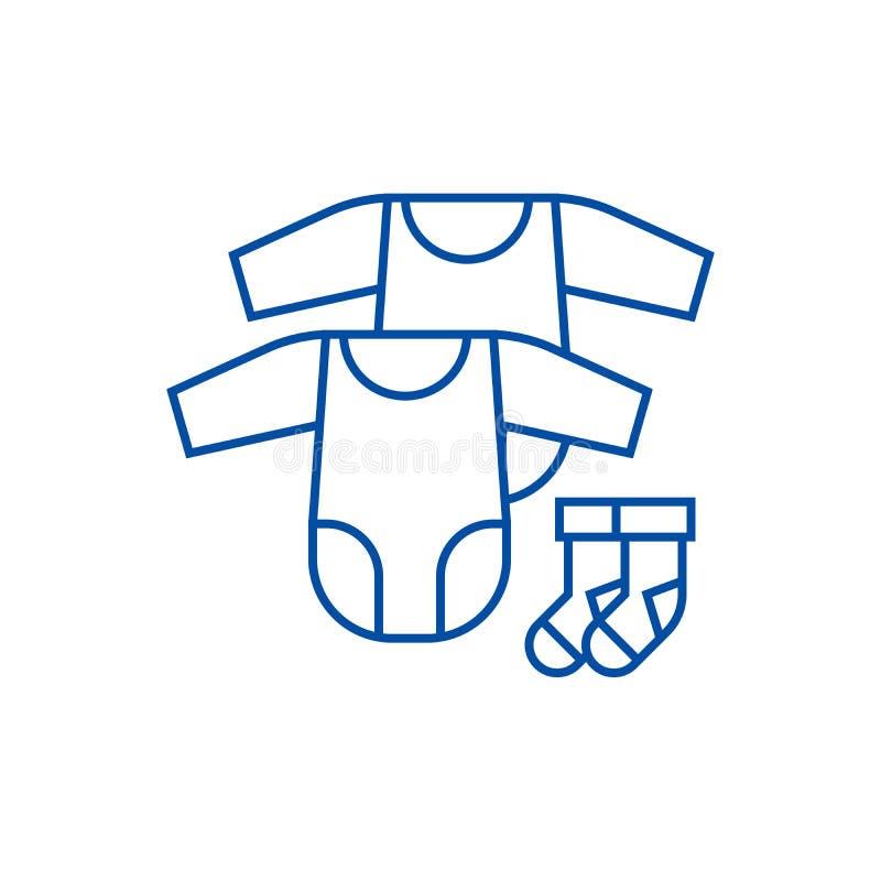 Van van babykleding, kruippakjes en sokken het concept van het lijnpictogram Van van babykleding, kruippakjes en sokken vlak vect stock illustratie