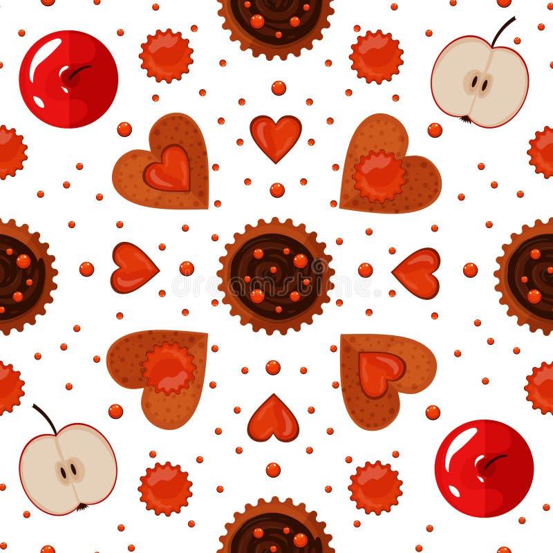 Van bakkerijsnoepjes en Koekjes Naadloos Patroon royalty-vrije illustratie