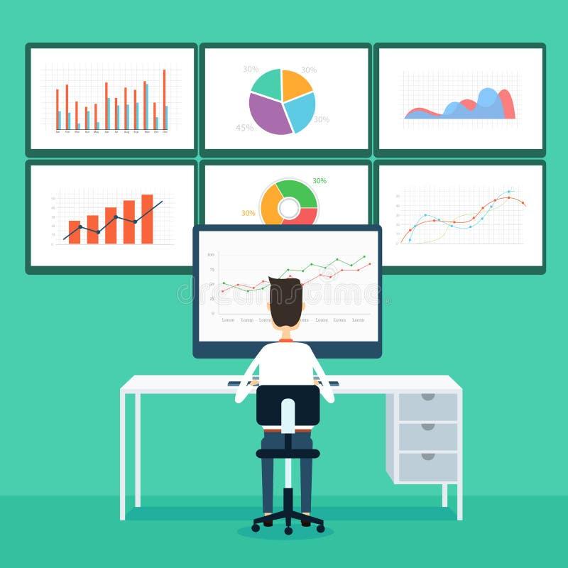 van bedrijfs bedrijfsmensenanalytics grafiek en seo op monitor stock illustratie