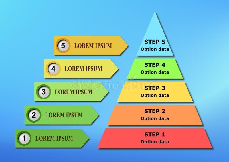 Van Bedrijfs infographic van de piramidestap Malplaatje royalty-vrije illustratie