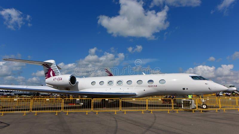 Van bedrijfs Qatar Uitvoerende Gulfstream G650 straal op vertoning in Singapore Airshow royalty-vrije stock foto's