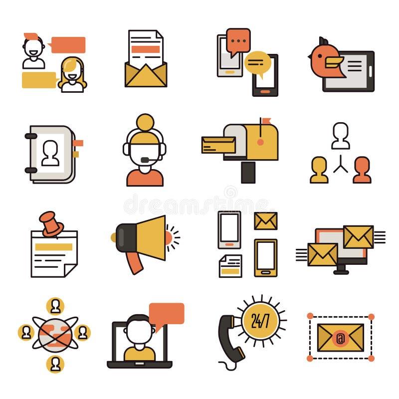 Van bedrijfs sociale de technologie de websitepictogrammen van het communicatienetwerkcontact en media deelt vectorillustratie me royalty-vrije illustratie