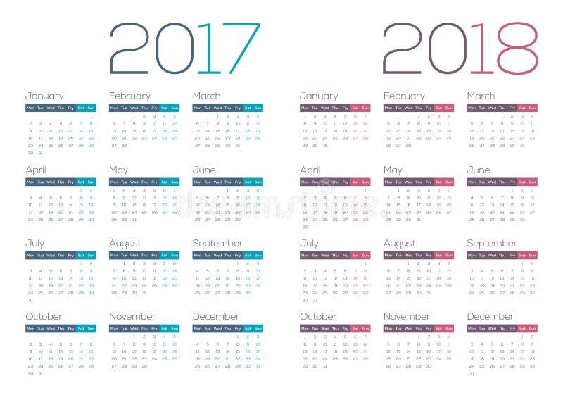 van bedrijfs 2018 van 2017 Moderne en Schone Kalender stock illustratie