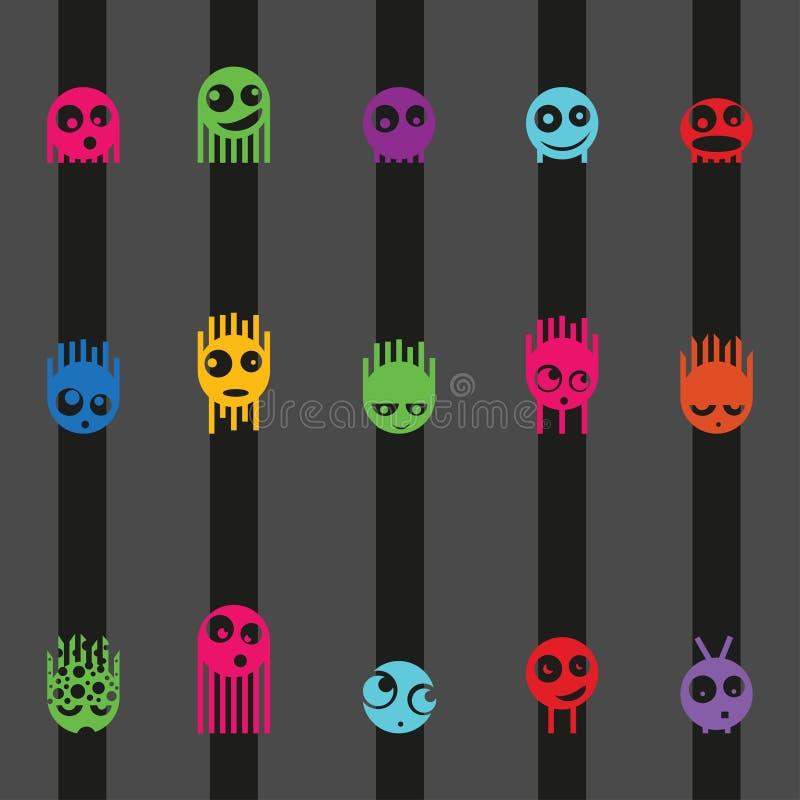 Van beeldverhaal leuk monsters en strepen naadloos patroon, vector royalty-vrije illustratie