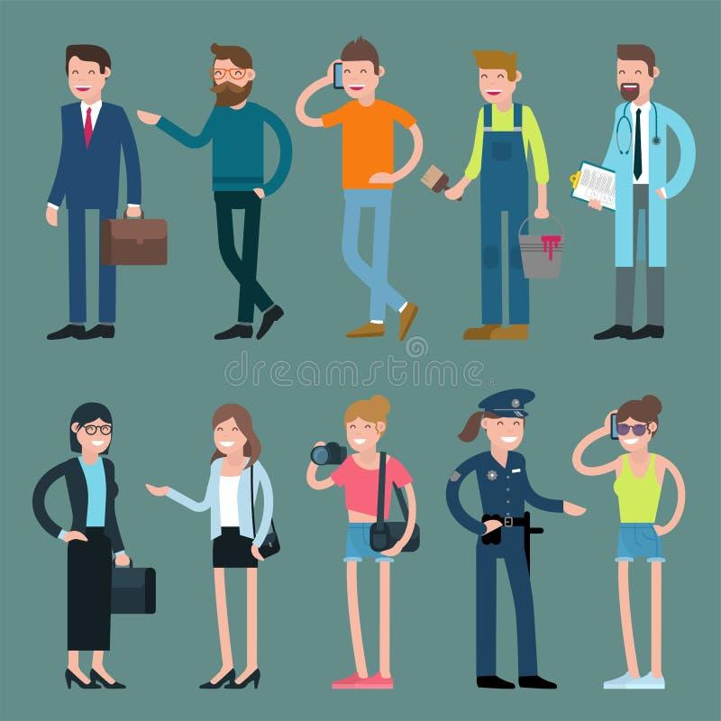 Van beeldverhaalmannen en vrouwen karakters vector illustratie