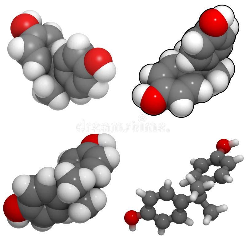Van Bisphenol A (BPA) de molecule stock illustratie