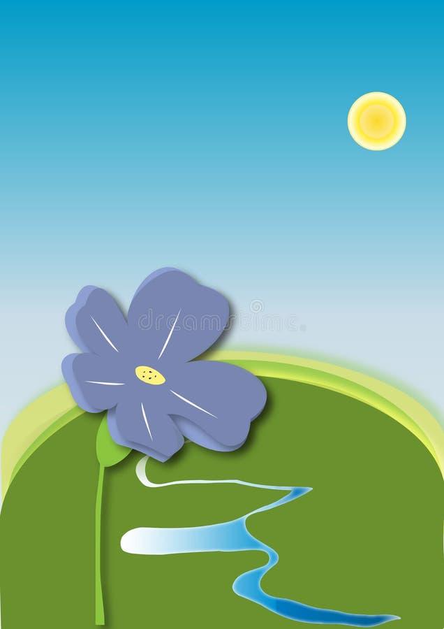 van bloemengebieden en weiden zon van de de hemel de blauwe stroom van de waterlente royalty-vrije illustratie