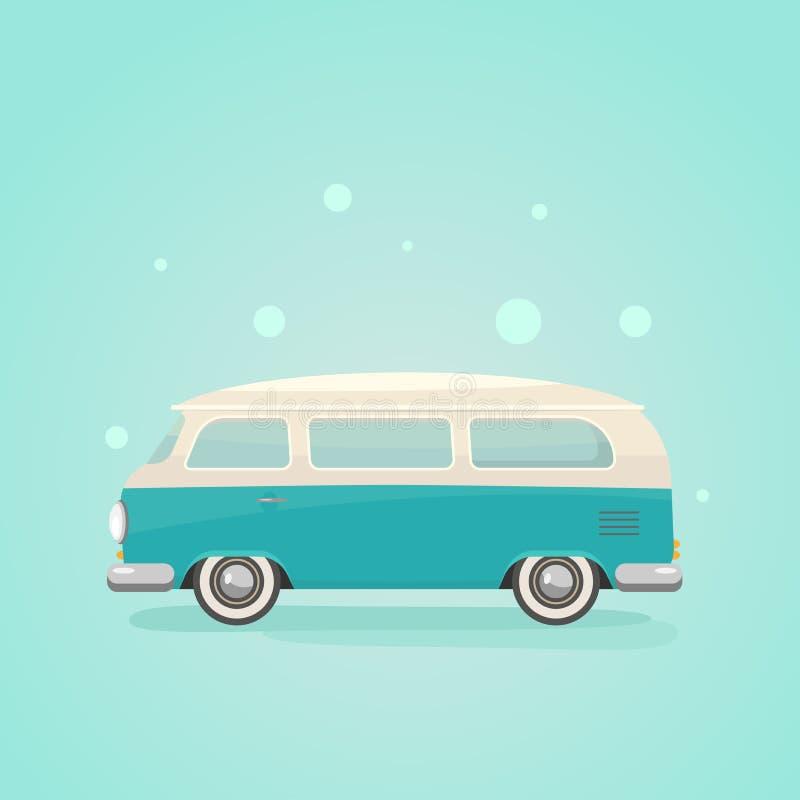 Van on blue background. Minibus flat vector illustration. Hippy retro car. vector illustration
