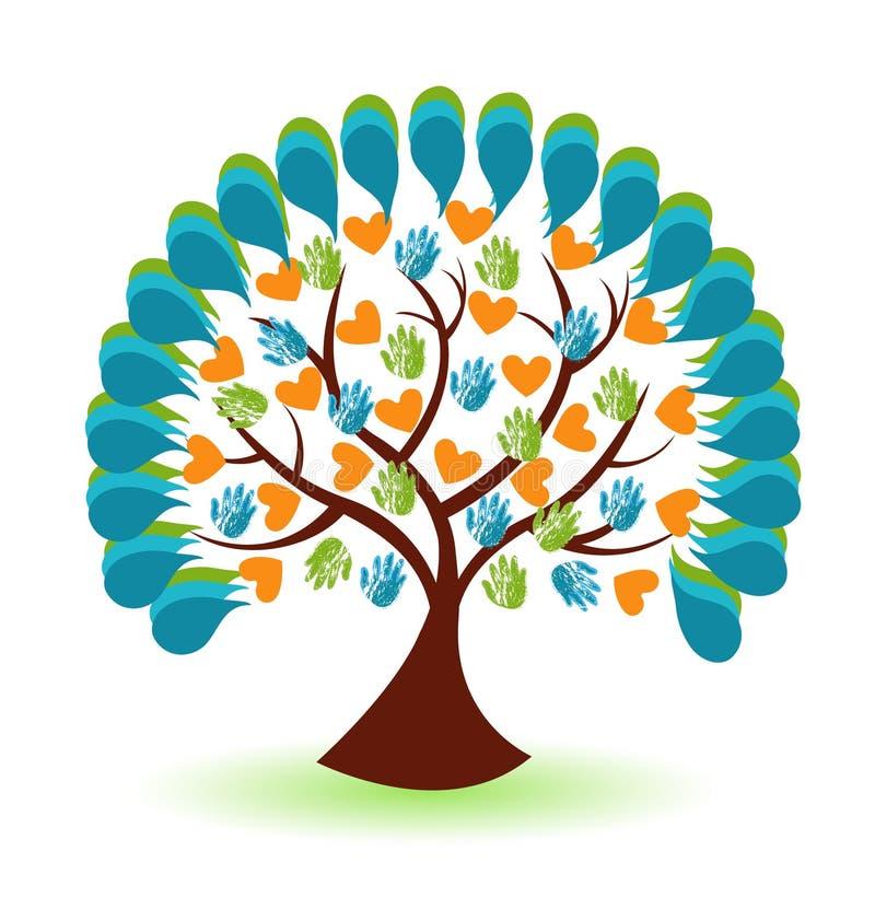 Van boomhanden en harten bedrijfsembleem royalty-vrije illustratie