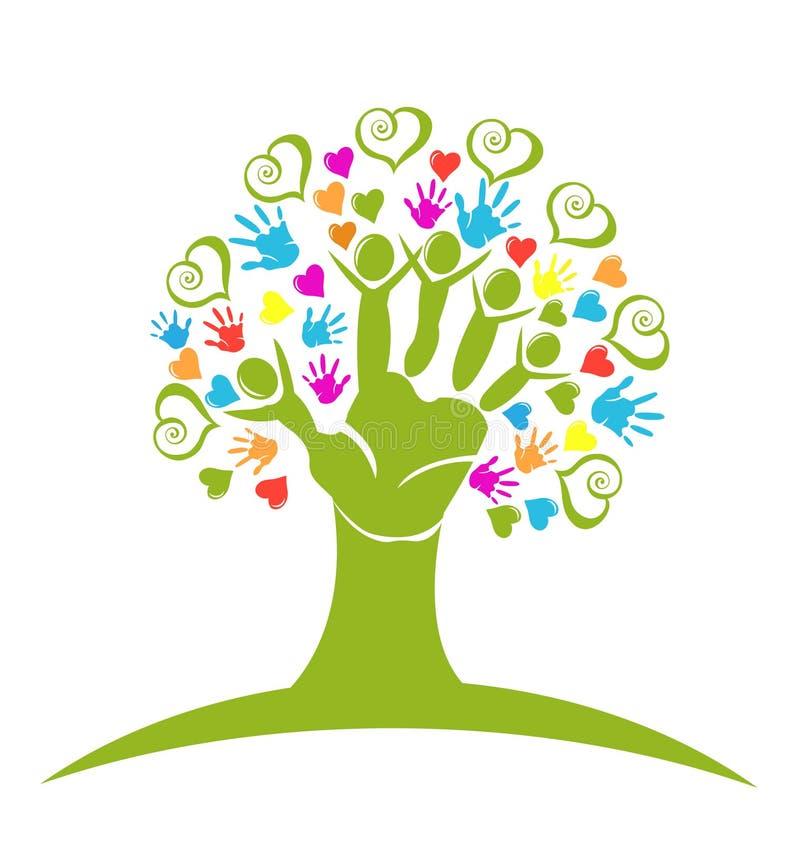 Van boomhanden en harten embleem royalty-vrije illustratie