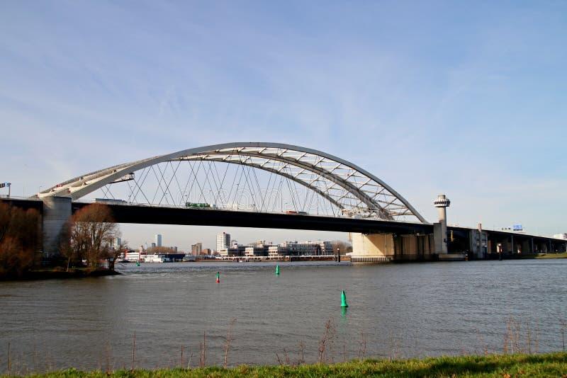 The Van Brienenoordbrug as suspension bridge over the nieuwe maas river on motorway A16 in Rotterdam the Netherlands. stock image