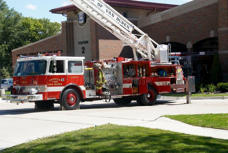 The Van Buren Fire Department in Van Buren township in Michigane. The Van Buren Fire Department`s Ladder truck fully extended during a drill royalty free stock photos