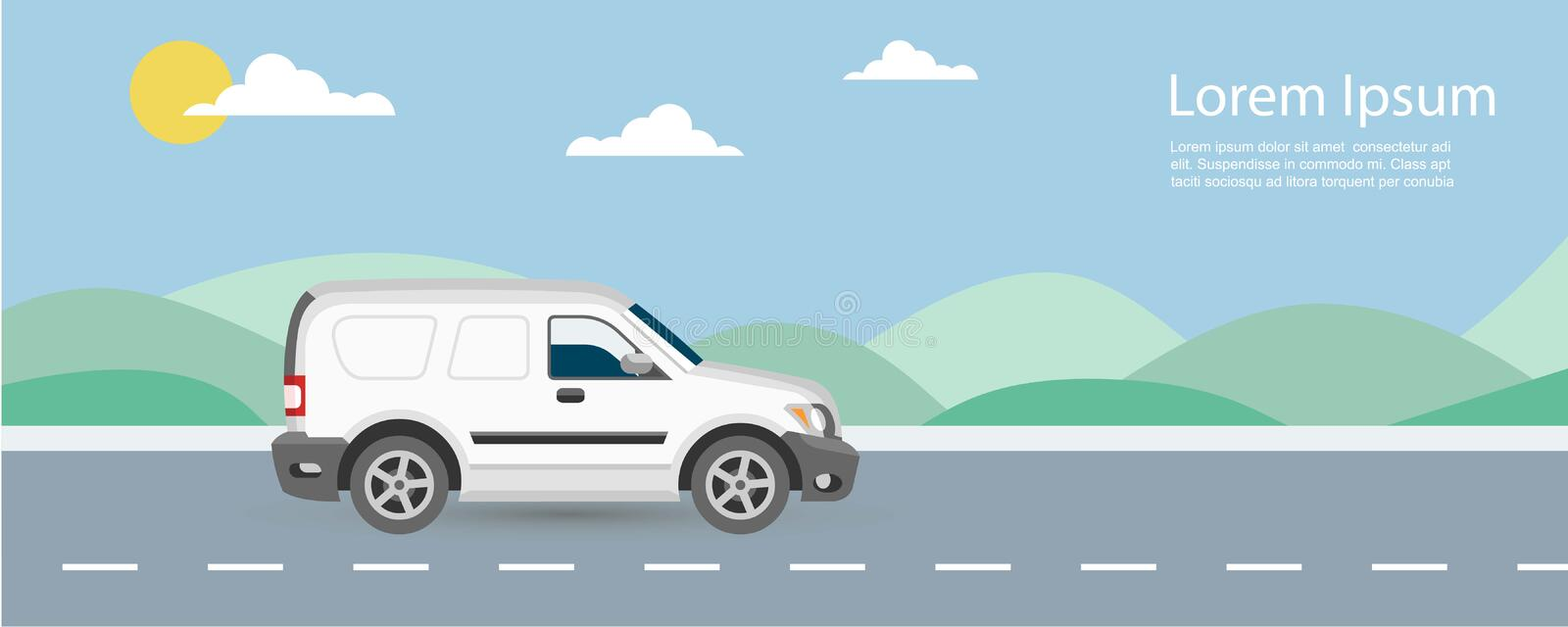 Van car free and fast delivery to customer on road background vector illustration. Van riding on highway with blue sky stock illustration