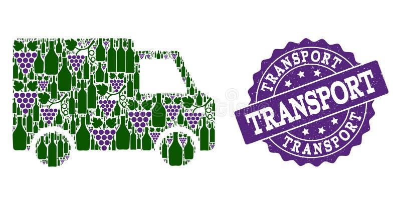 Van Car Mosaic von Wein-Flaschen und von Traube und von Schmutz-Stempel stock abbildung