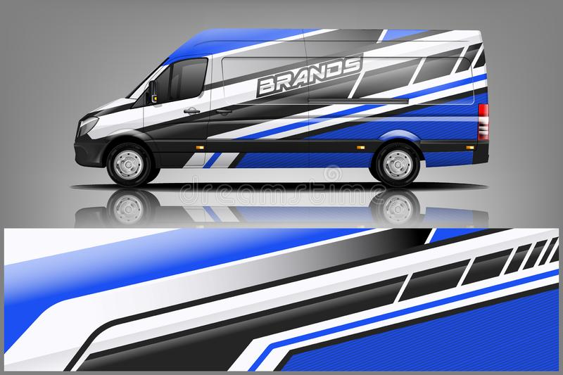Van car Wrap design for company. Eps 10 stock illustration