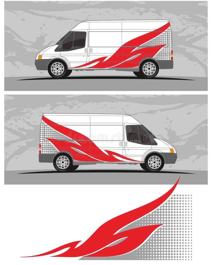 Van car y el equipo de los gráficos de la etiqueta del vehículo diseña stock de ilustración