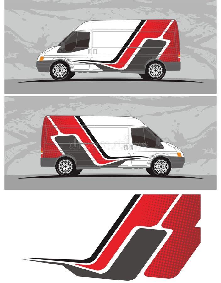 Van car y el equipo de los gráficos de la etiqueta del vehículo diseña ilustración del vector