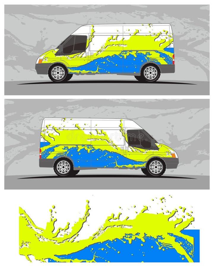 Van car y el equipo de los gráficos de la etiqueta del vehículo diseña libre illustration