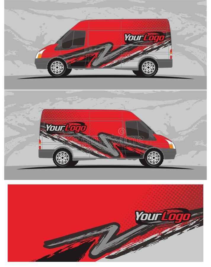 Van carro e o jogo dos gráficos do decalque do veículo projetam ilustração stock