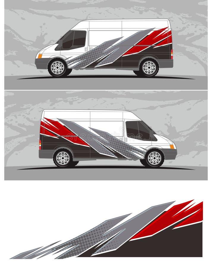 Van carro e o jogo dos gráficos do decalque do veículo projetam ilustração do vetor