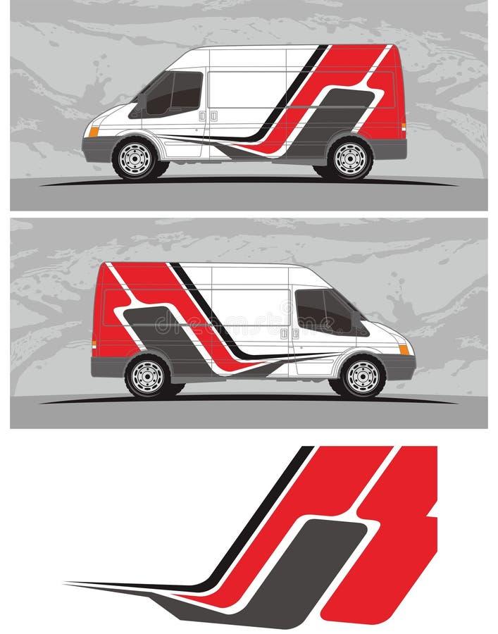 Van carro e o jogo dos gráficos do decalque do veículo projetam ilustração royalty free
