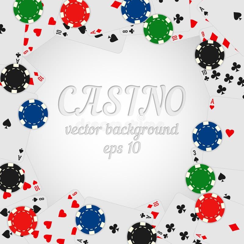 Van casinospaanders en speelkaarten vectorachtergrond stock illustratie