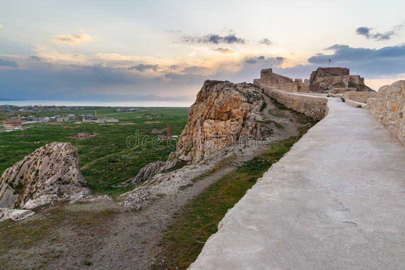 Van castle auf Sonnenuntergang Die Türkei lizenzfreies stockbild
