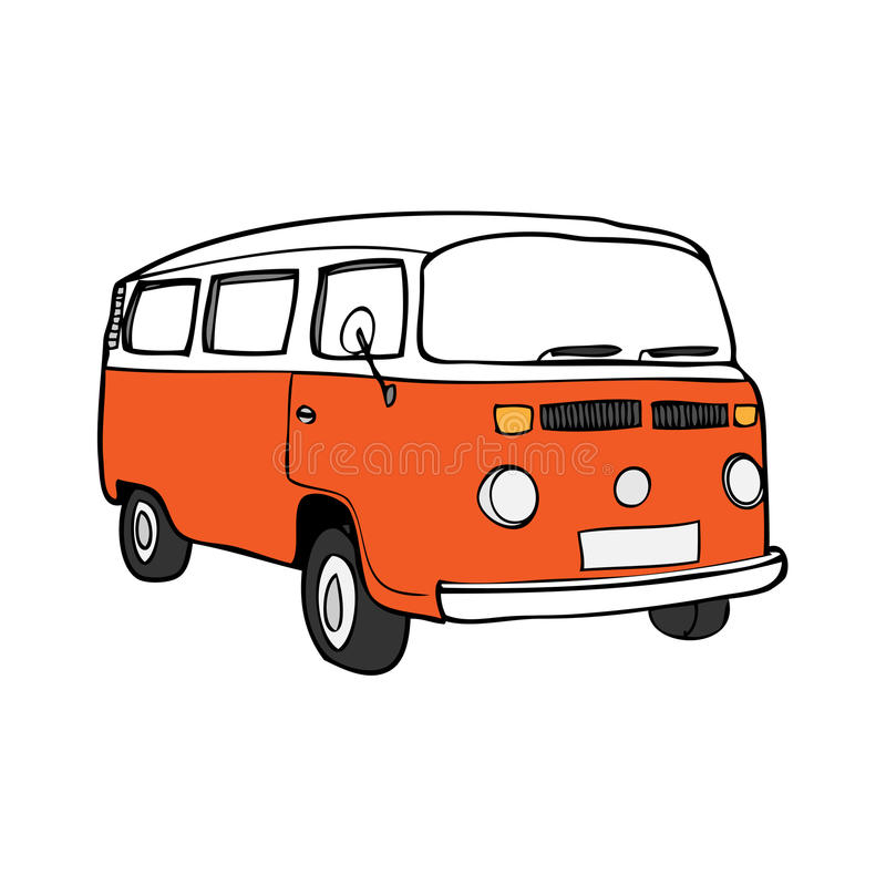 Van. Classic van cartoon drawing vector stock illustration