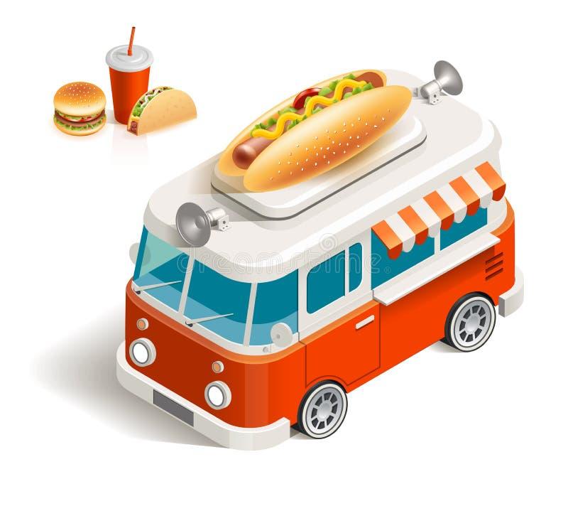 Van com fast food ilustração royalty free