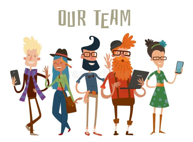 Van commerciële de website van het de groepsportret teammensen royalty-vrije illustratie
