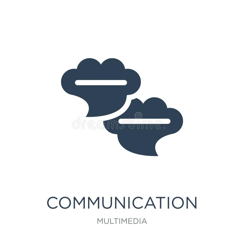 van communicatie het pictogram toespraakbellen in in ontwerpstijl van communicatie die het pictogram toespraakbellen op witte ach stock illustratie