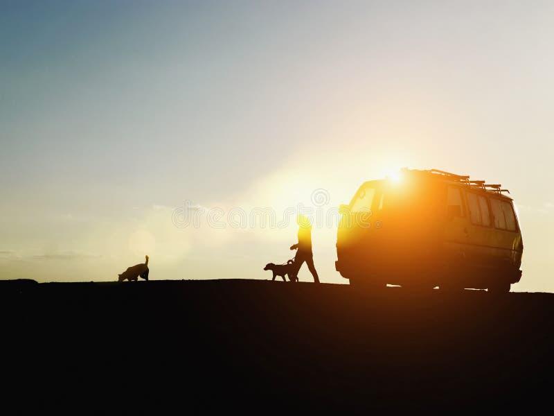 Van con una mujer que camina sus perros en la puesta del sol imágenes de archivo libres de regalías