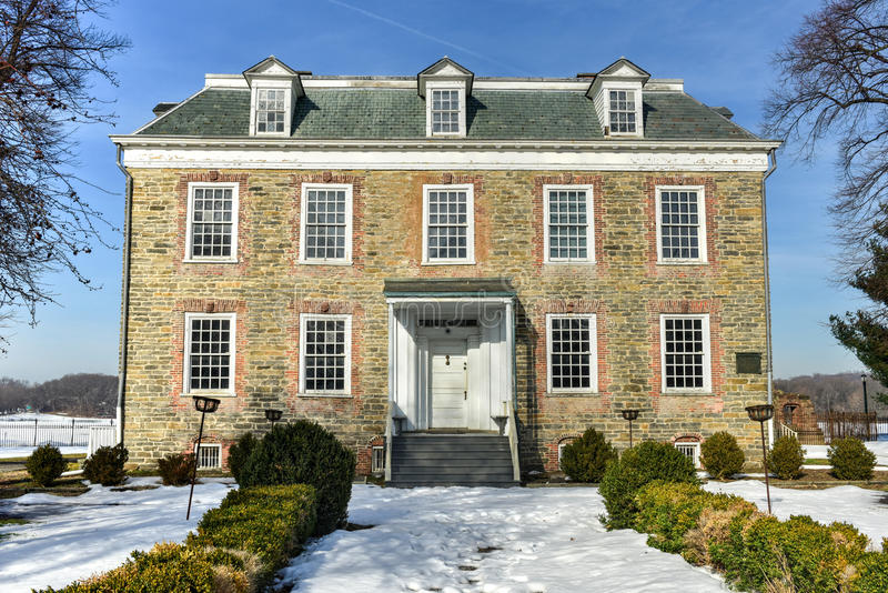 Van Cortlandt Manor House. Historic Georgian 1748 Van Cortlandt Manor House built in dressed fieldstone with a double-hipped roof in Bronx, New York royalty free stock images