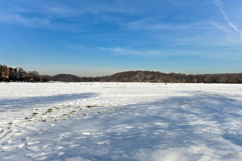 Van Cortlandt Park. In the County of the Bronx, New York in the winter royalty free stock image