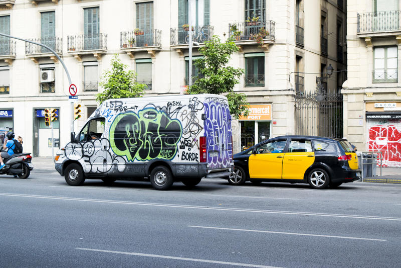 Van covered with graffiti, Barcelona, Spain stock photos