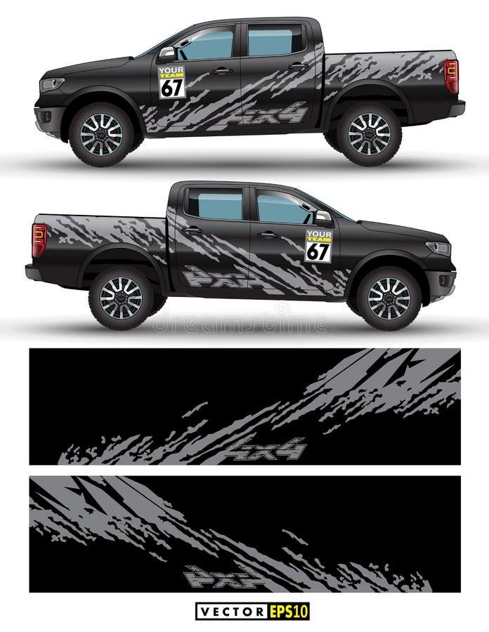 van de aandrijvingsvrachtwagen en auto grafische vector met 4 wielen De abstracte lijnen van het plonspatroon met zwart ontwerp a vector illustratie