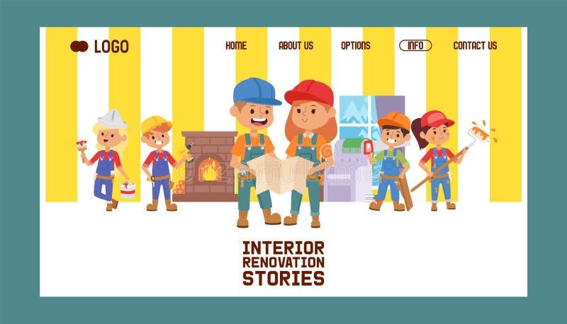 Van de aannemerskinderen van de bouwers de vectorwebpagina van de het karakterbouwconstructie achtergrond van de het ontwerpillus royalty-vrije illustratie