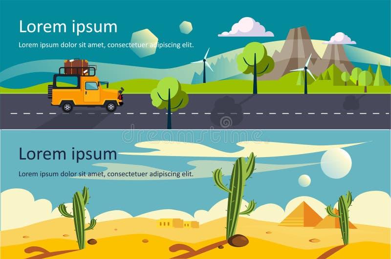 Van de aard rustige woestijn en berg landschaps horizontale banners met ruimte voor tekst, de vector van het reisconcept royalty-vrije illustratie
