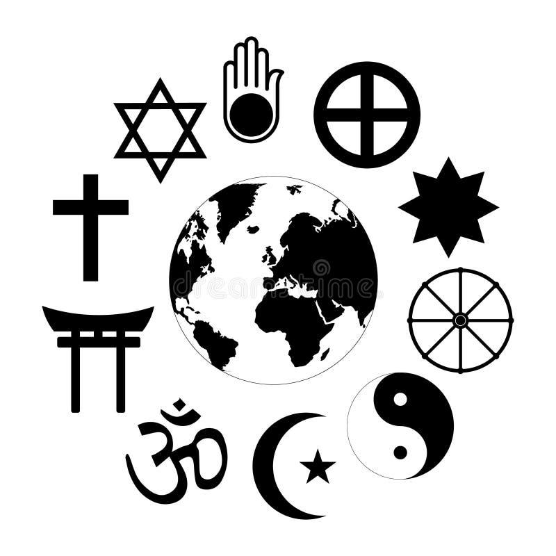 Van de de Aardebloem van wereldgodsdiensten de Wereldgodsdiensten - bloempictogram van godsdienstige symbolen en aarde in centrum vector illustratie