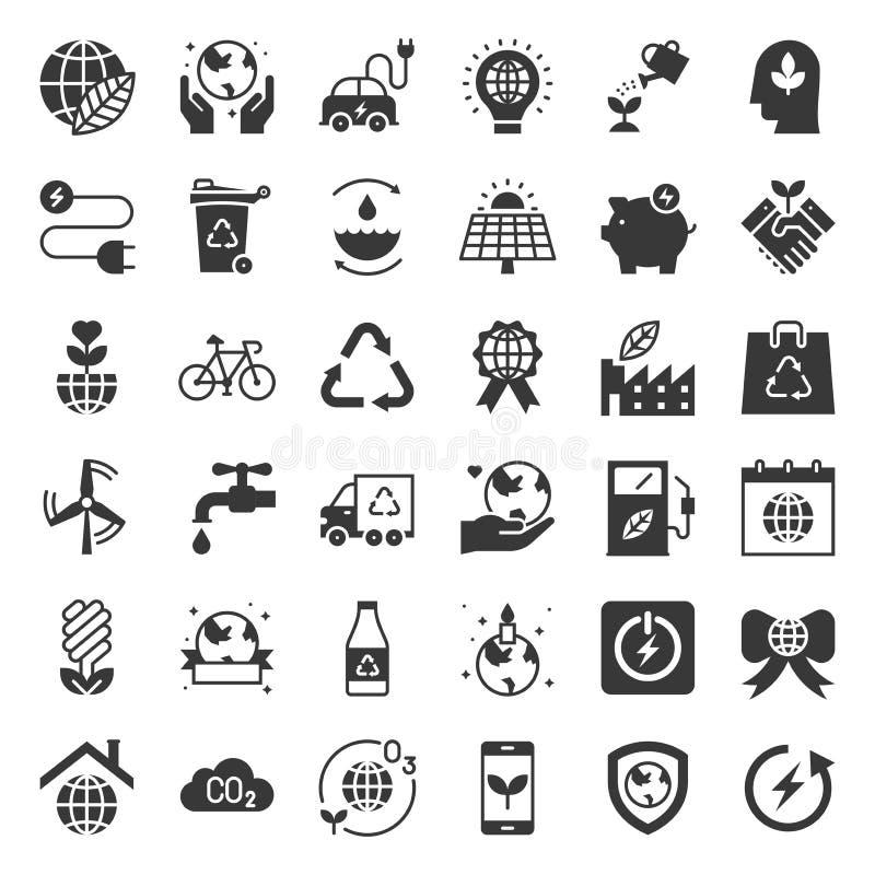 Van de aardedag en ecologie pictogram, stevige pictogramreeks stock illustratie