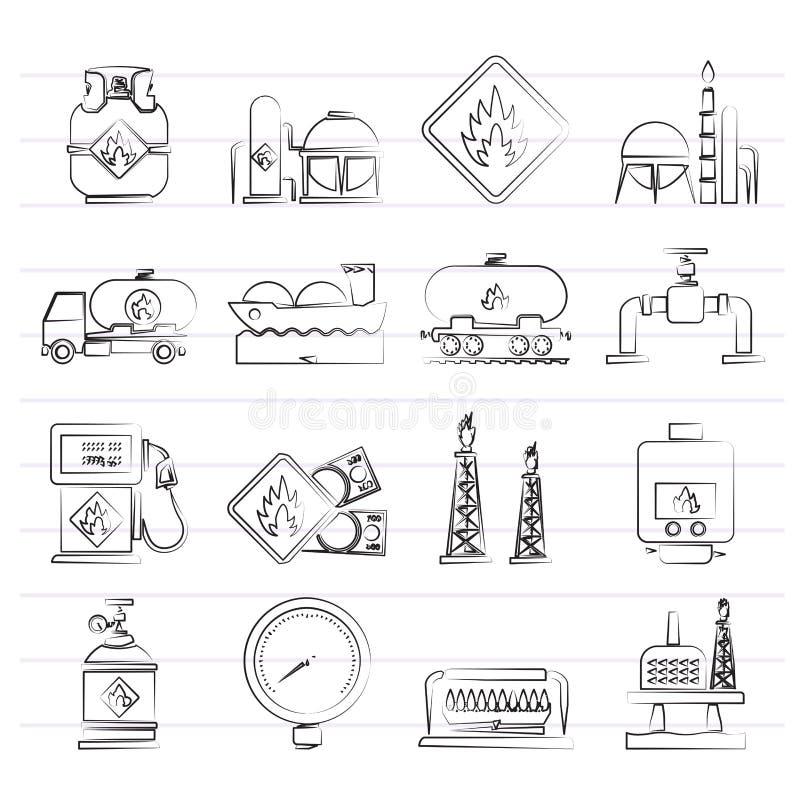 Van de aardgasbrandstof en energie de industriepictogrammen royalty-vrije illustratie