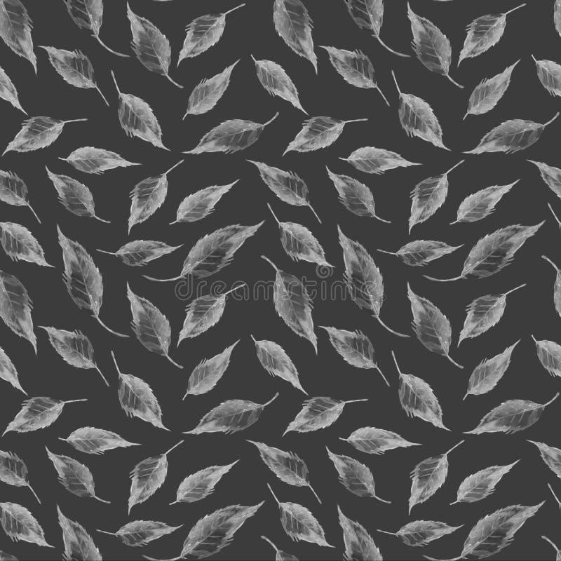 Van de de aardzomer patroon de grijze van de achtergrondbladerentextuur van het de kunstontwerp textiel van de de decoratiedruk stock illustratie