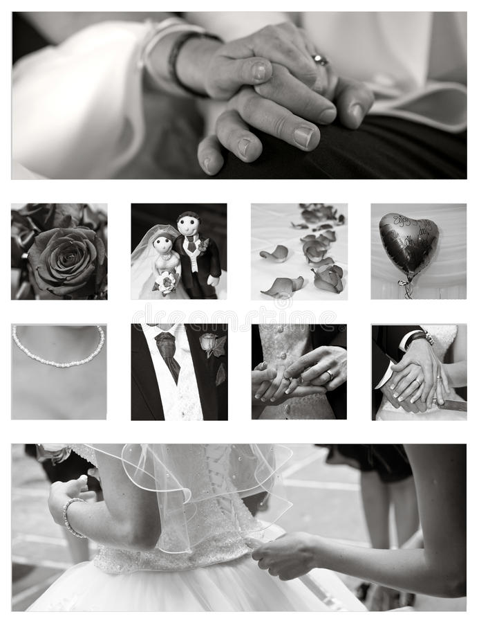 Van de Achtergrond collage van het huwelijk inzameling stock foto's