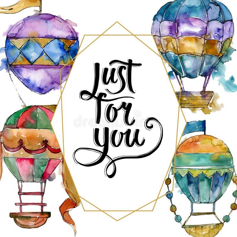 Van de achtergrond hete luchtballon vliegluchtvervoer Waterverf achtergrondillustratiereeks Het ornamentvierkant van de kadergren royalty-vrije illustratie