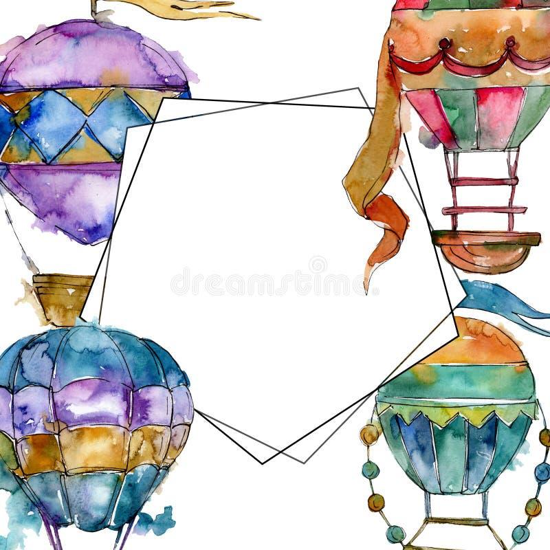 Van de achtergrond hete luchtballon vliegluchtvervoer Waterverf achtergrondillustratiereeks Het ornamentvierkant van de kadergren stock foto