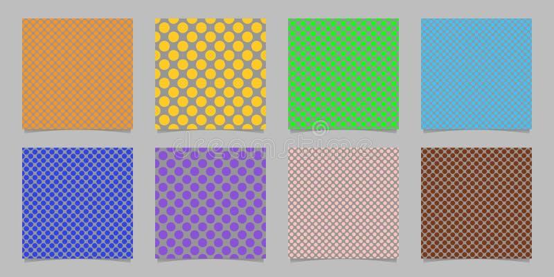Van de achtergrond kleuren abstracte naadloze stip patroonsjabloonset - geregelde vectorafbeeldingen van gekleurde cirkels vector illustratie