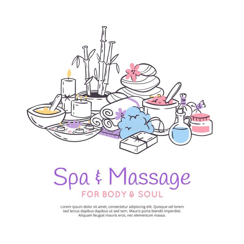 Van de de achtergrond massagesalon van de kuuroordbehandeling de affiche het Ontwerp voor schoonheidsmiddelen slaat kuuroord en s royalty-vrije illustratie