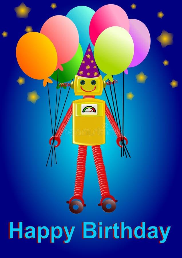 Van de achtergrond robotverjaardag illustratie royalty-vrije illustratie