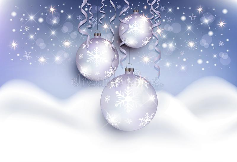 Van de achtergrond sneeuwbankbergen van Kerstmisballen het blauw van de groetkaart royalty-vrije illustratie